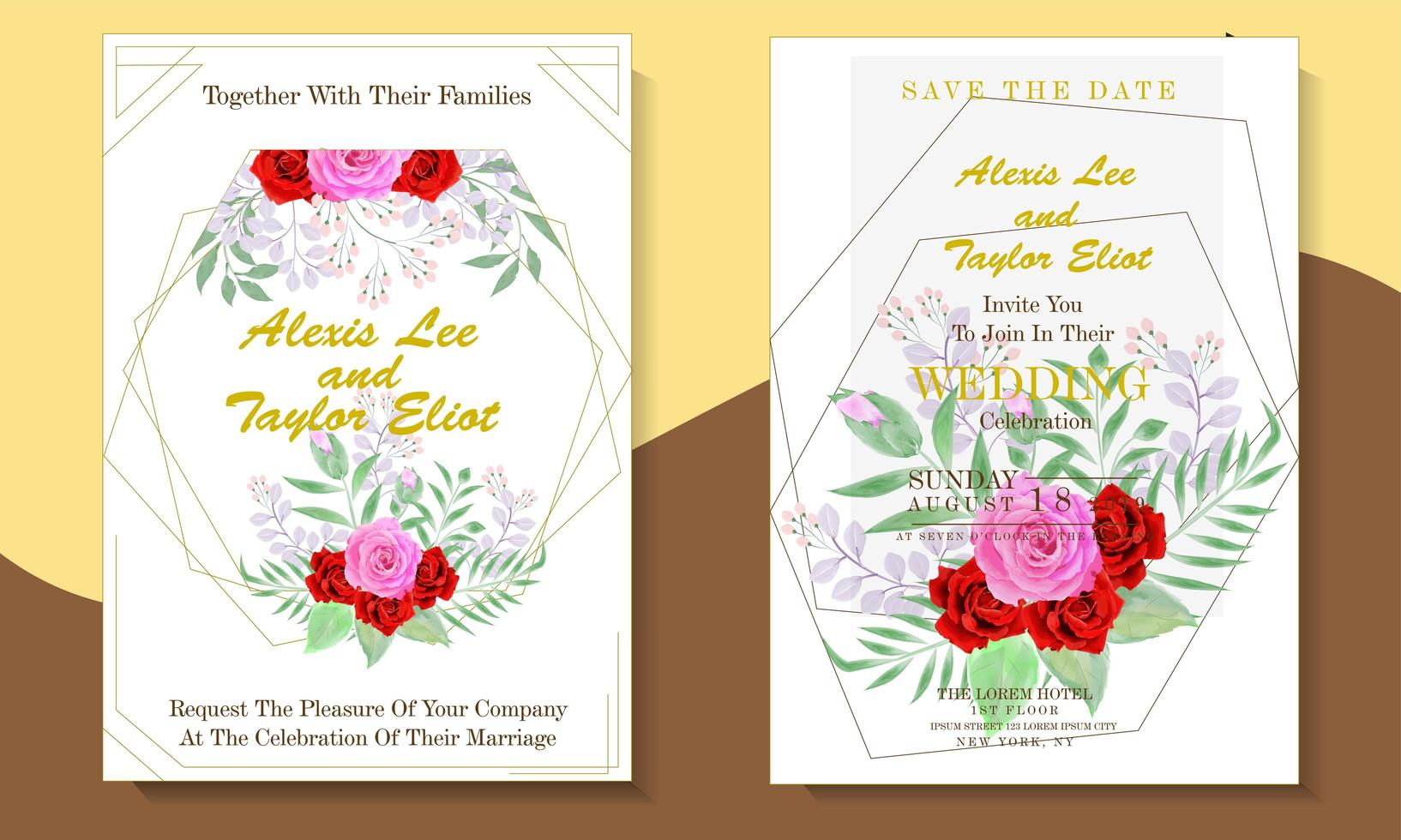 floral watercolor wedding invitation card set with geometric shapes vector