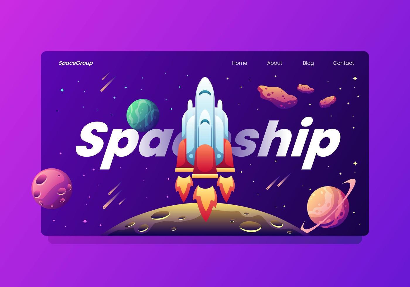 Nave espacial despegando página de aterrizaje vector