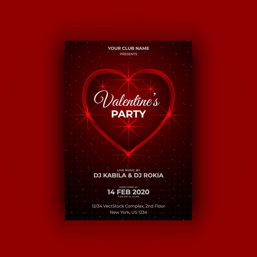 Valentine's party vector flyer template
