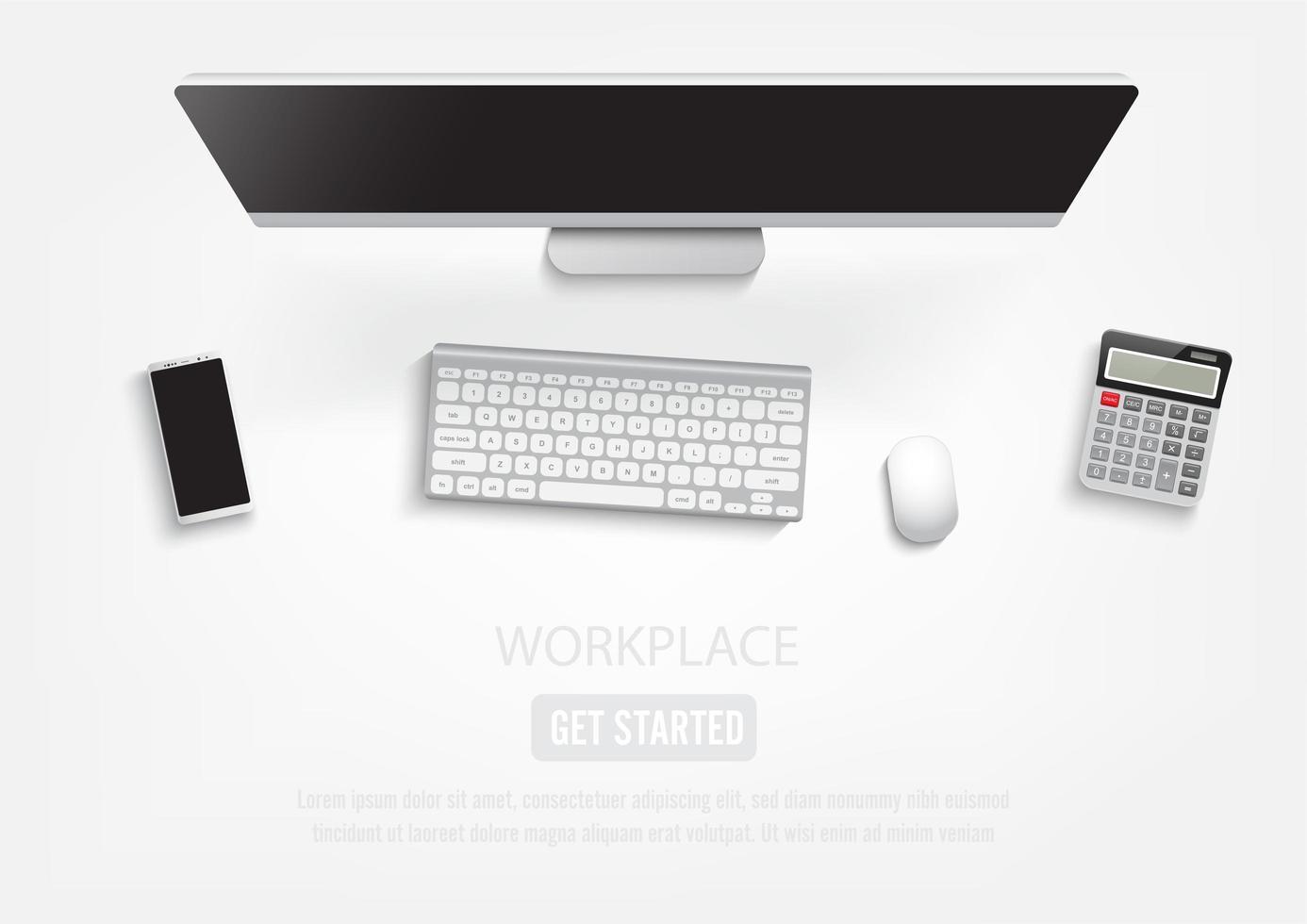 Ovanifrån skrivbord med dator, tangentbord, smartphone och miniräknare vektor