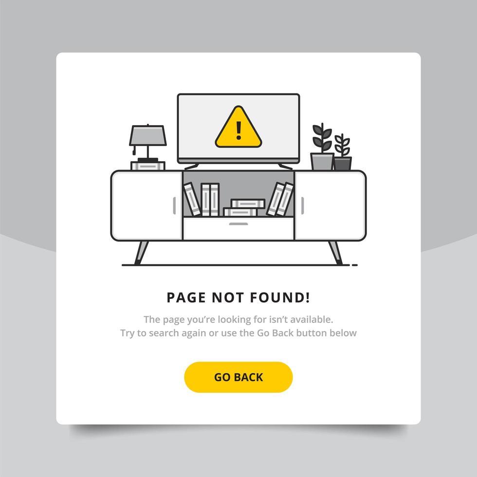 Página não encontrada 404 modelo de design vetor
