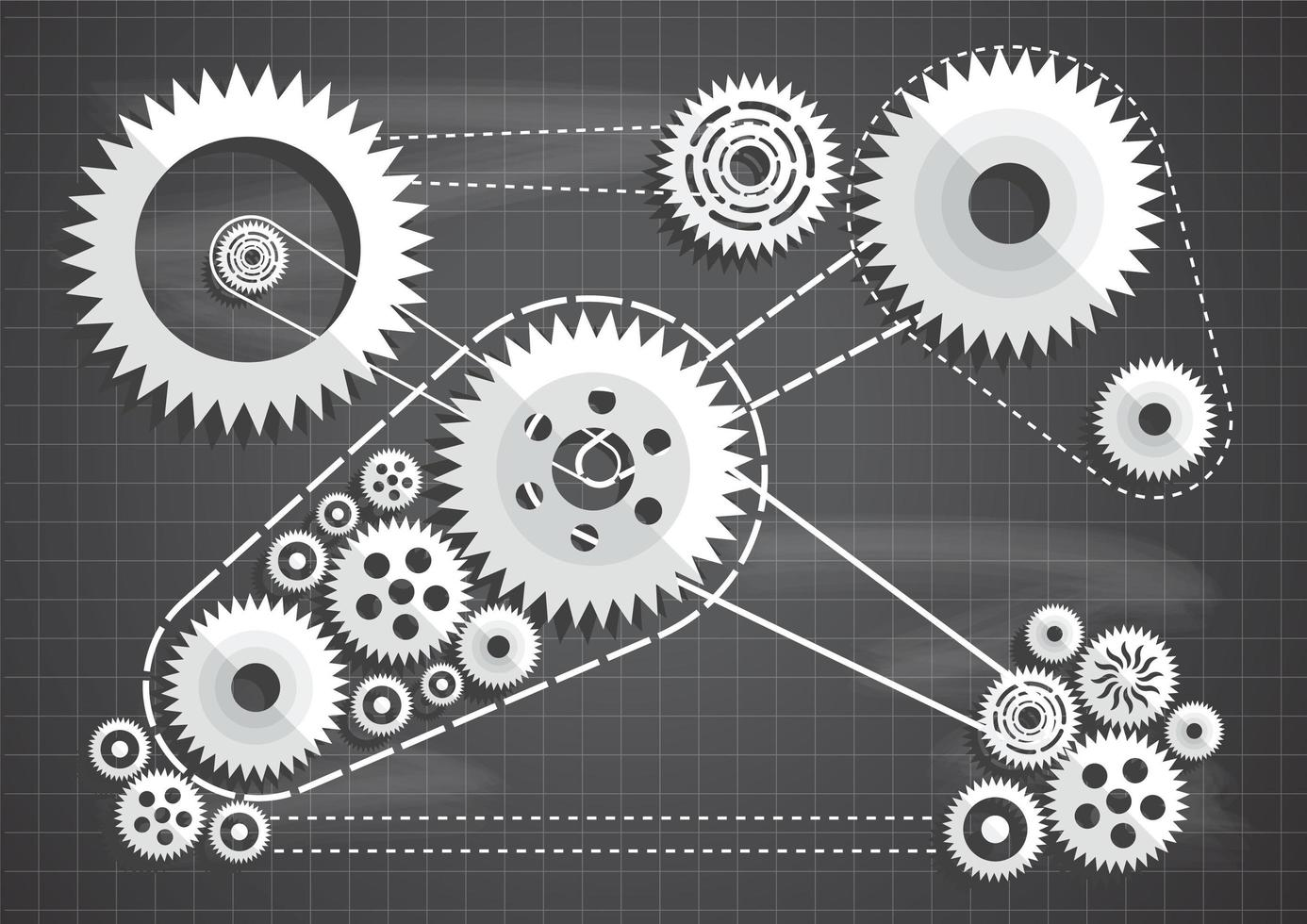 Paper cut gears and cogs on blueprint chalkboard vector