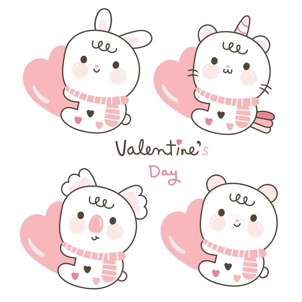 Cute Koala, bear, unicorn cat, rabbit cartoon set