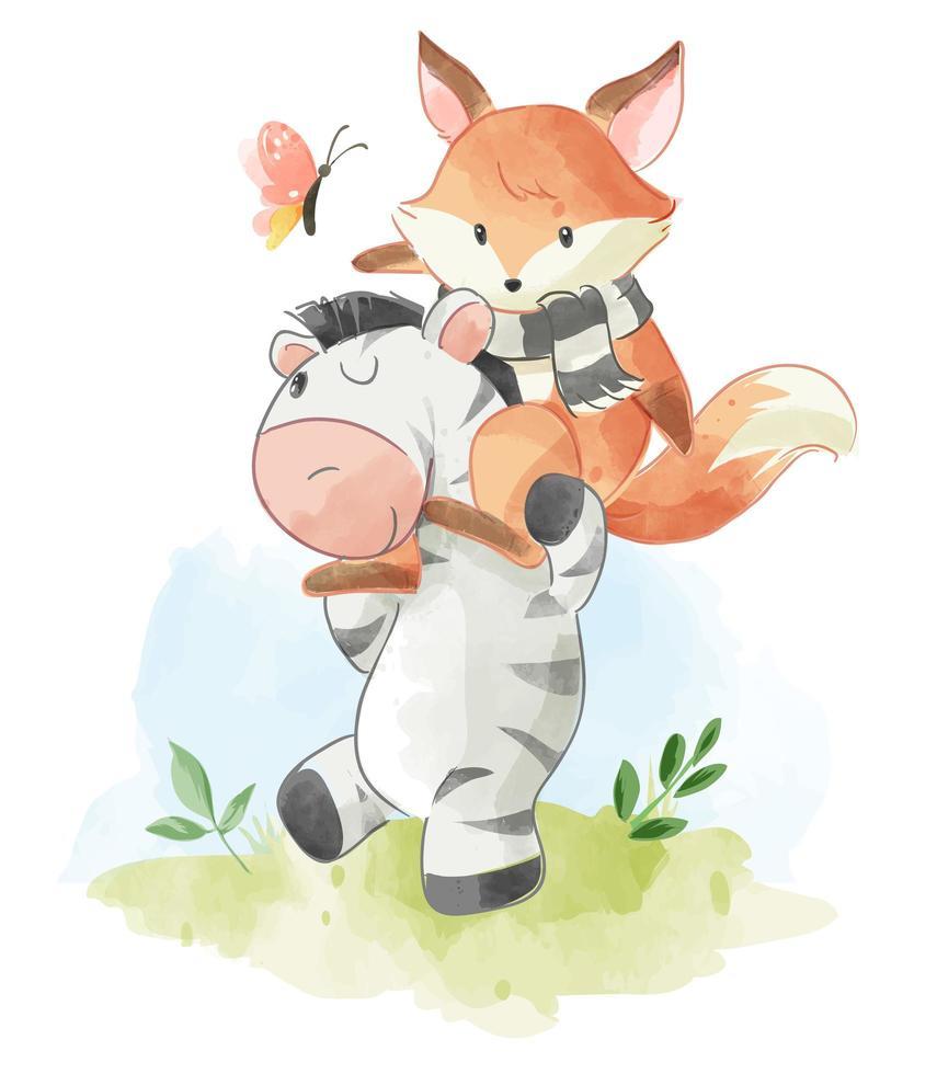 cute cartoon fox riding on zebra  vector