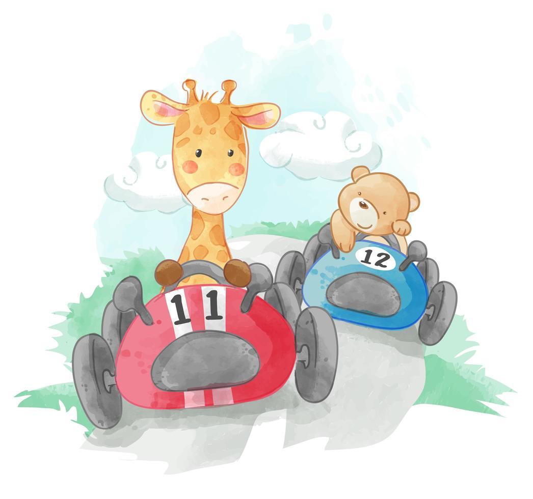 cute animal racing cars  vector