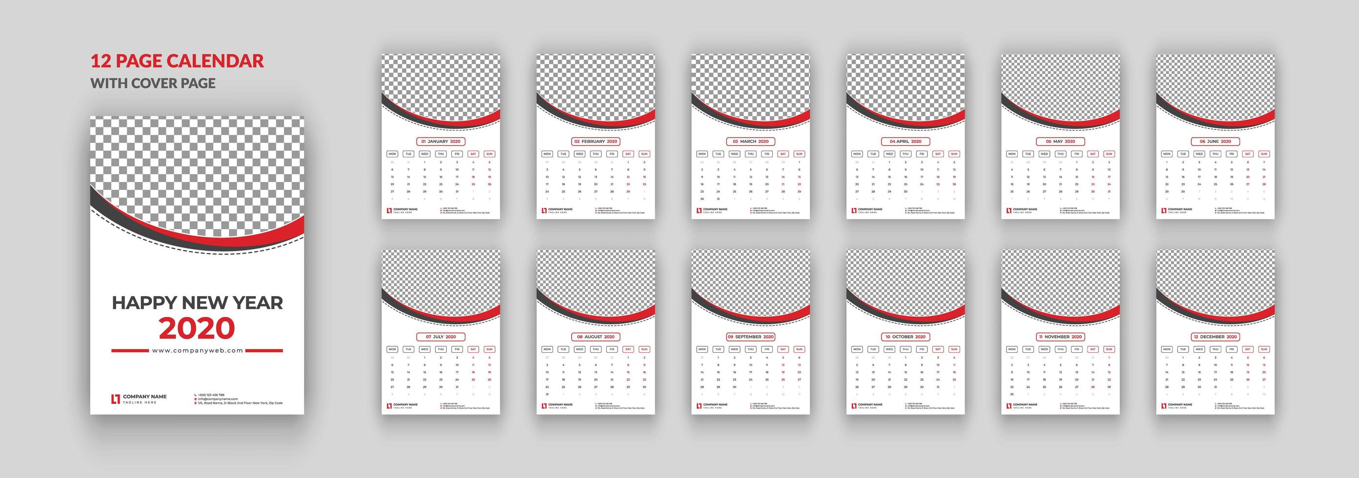 12 pages wall calendar 2020 with cover page vector
