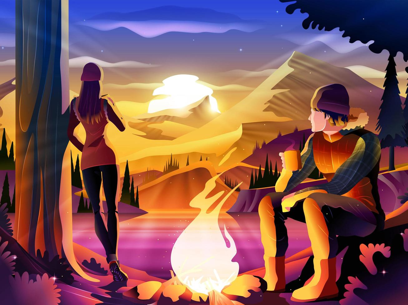 Couple Camping on Lake Surrounded by Mountains vector