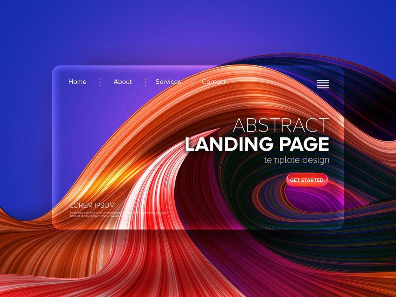 Fond de lignes déformées orange pour la page de destination vecteur