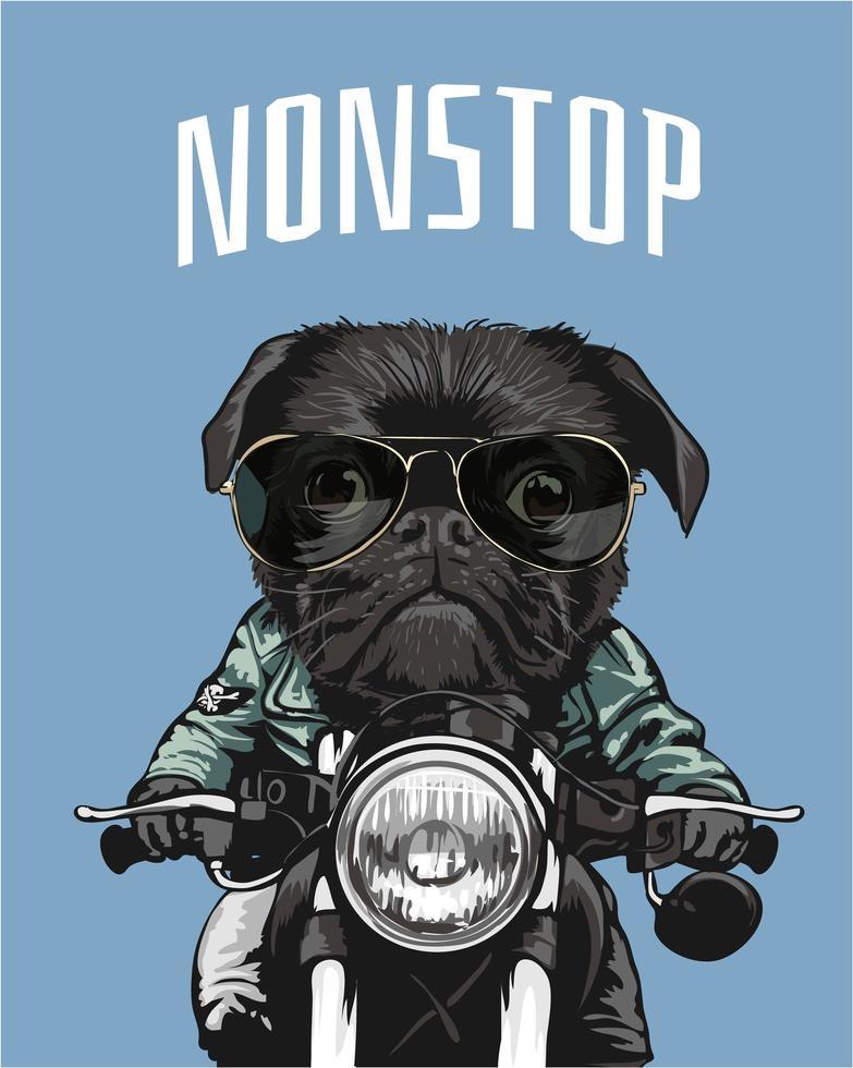 black pug riding motorcycle illustration vector