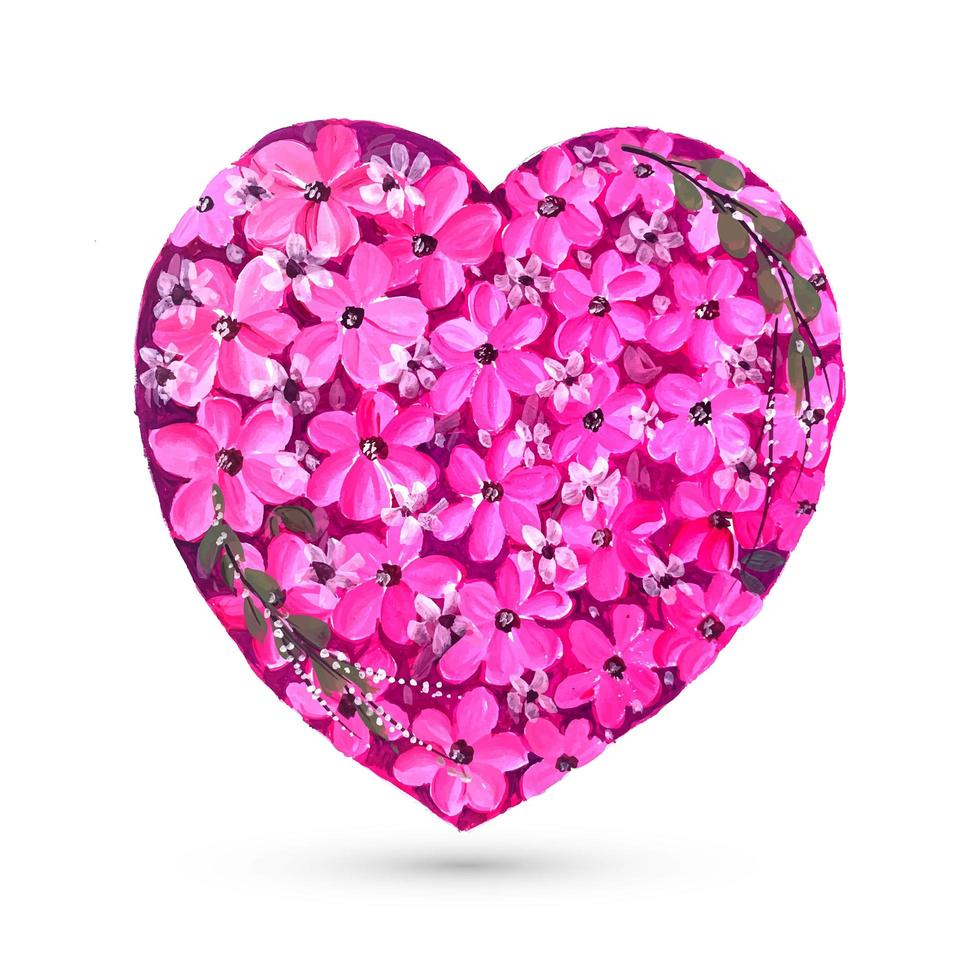 valentines day card with colorful flower heart background