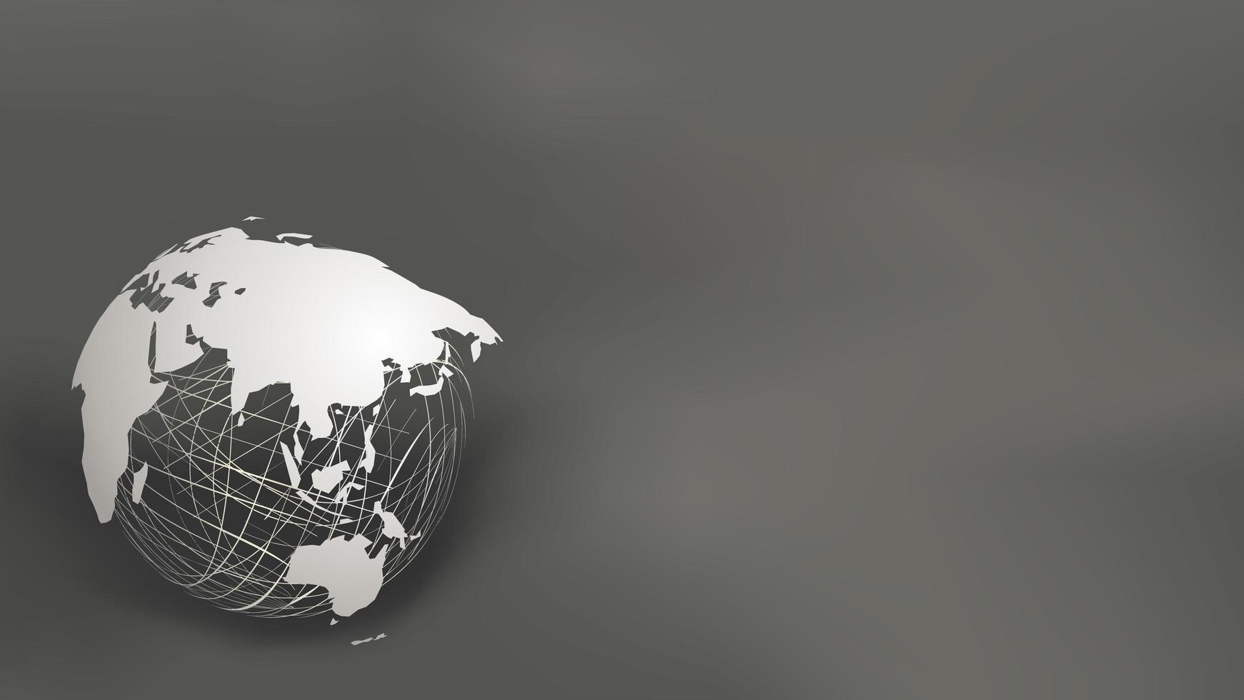 La carta della mappa di mondo ha tagliato lo stile sulla sfera bianca della maglia su grigio scuro vettore