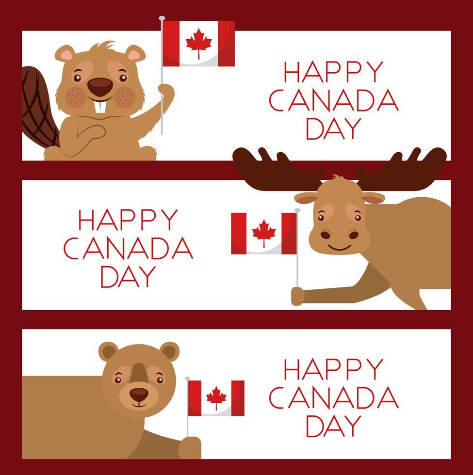 happy Canada day animal card set vector