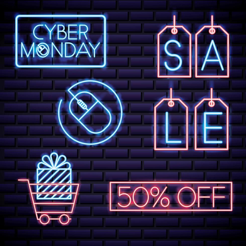 Iconos de letrero de neón del ciber lunes vector