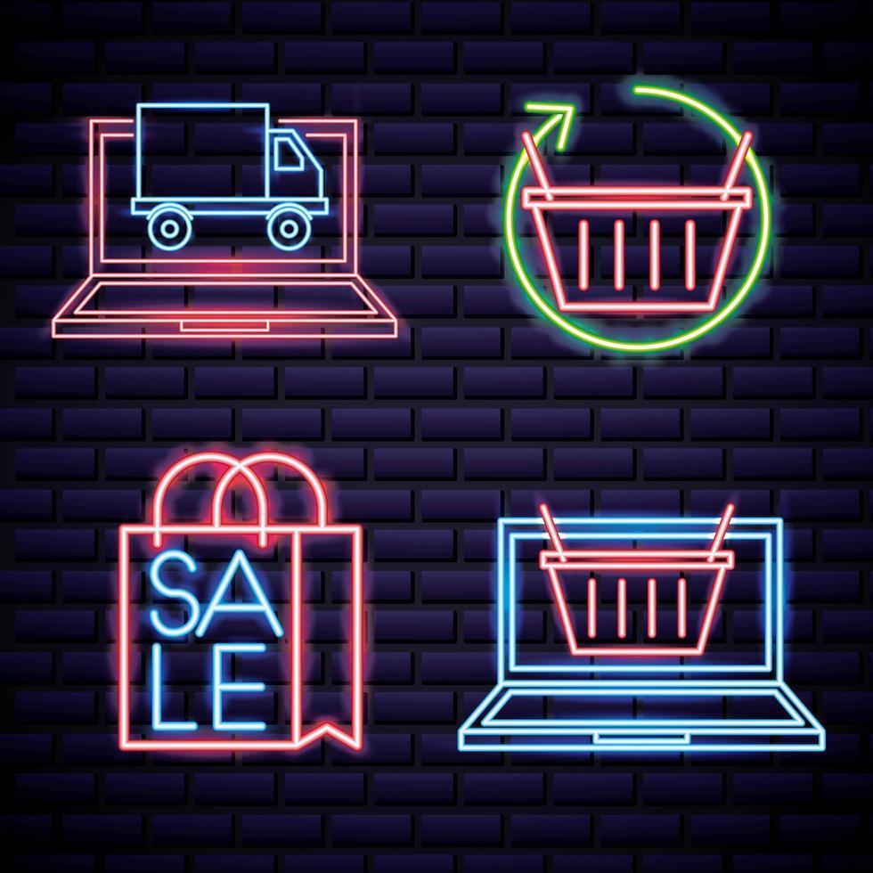 Iconos de venta de neón vector