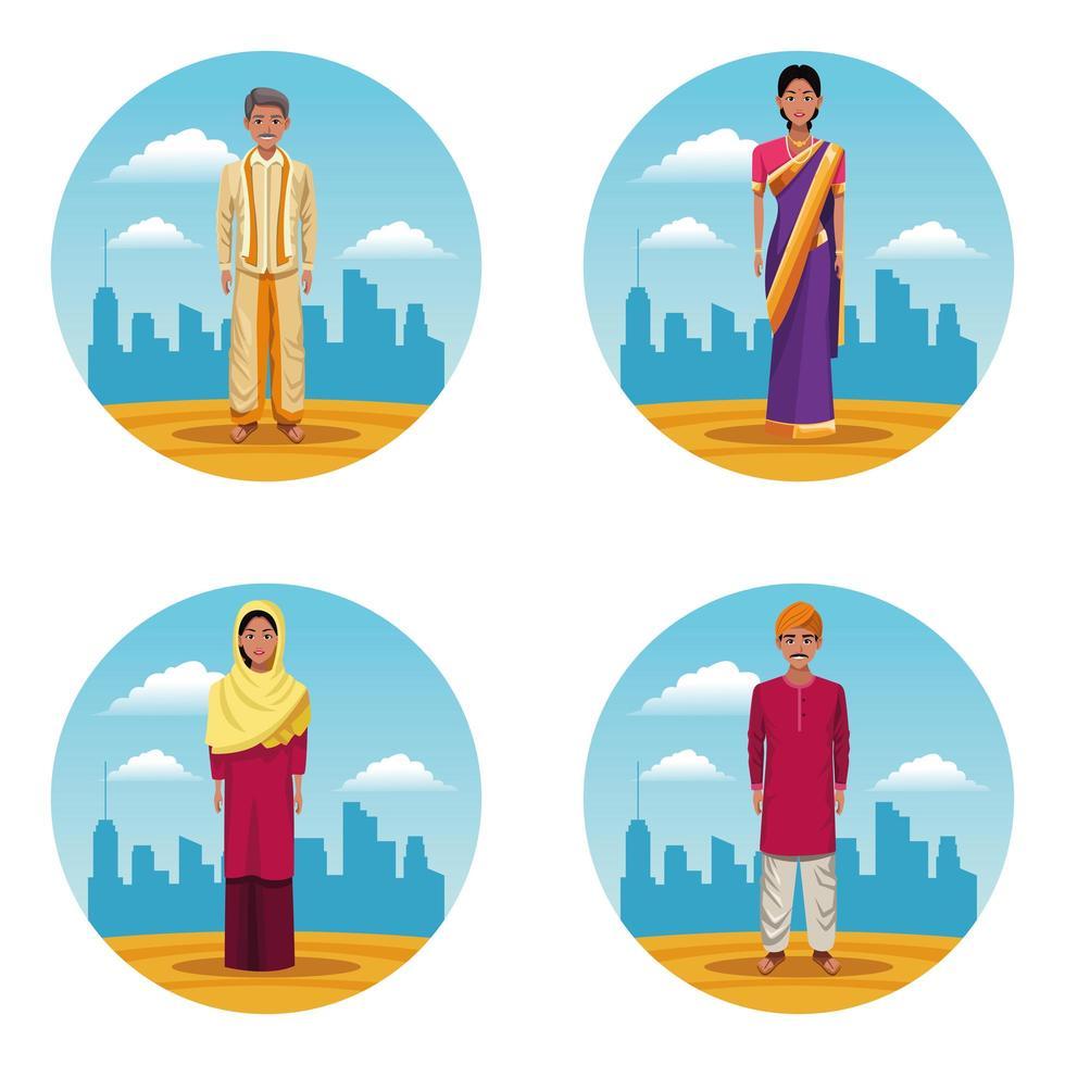 set di donne e uomini indiani vettore