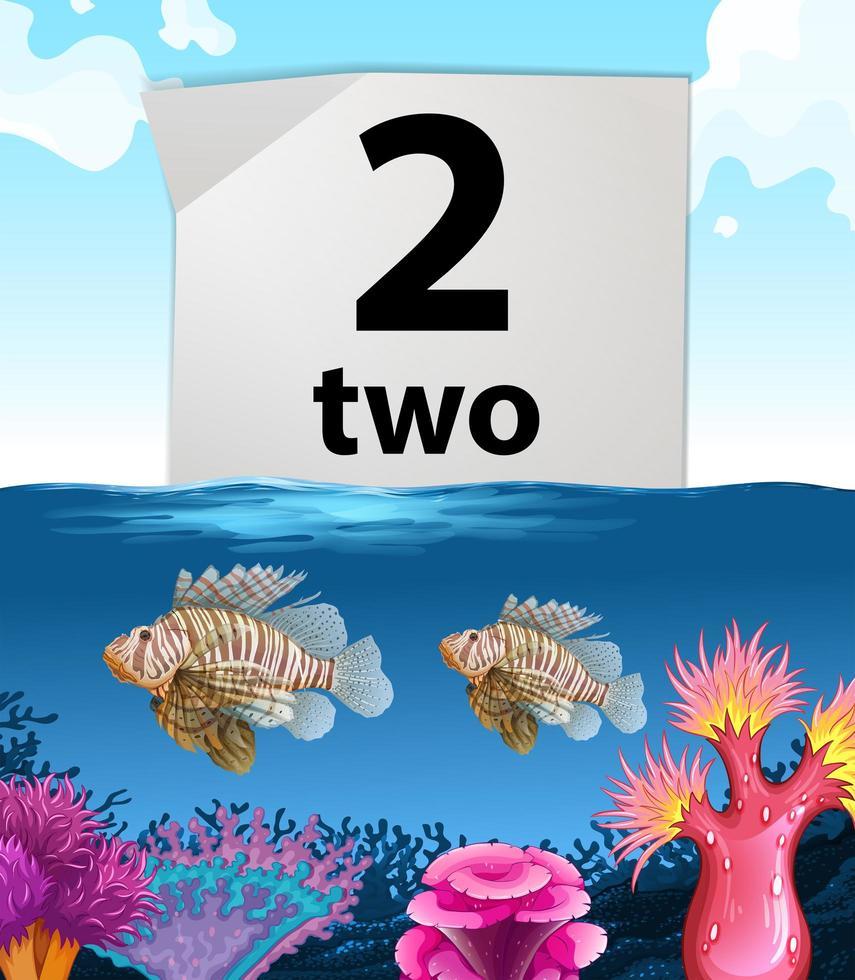 Numéro deux et deux poissons sous la mer vecteur