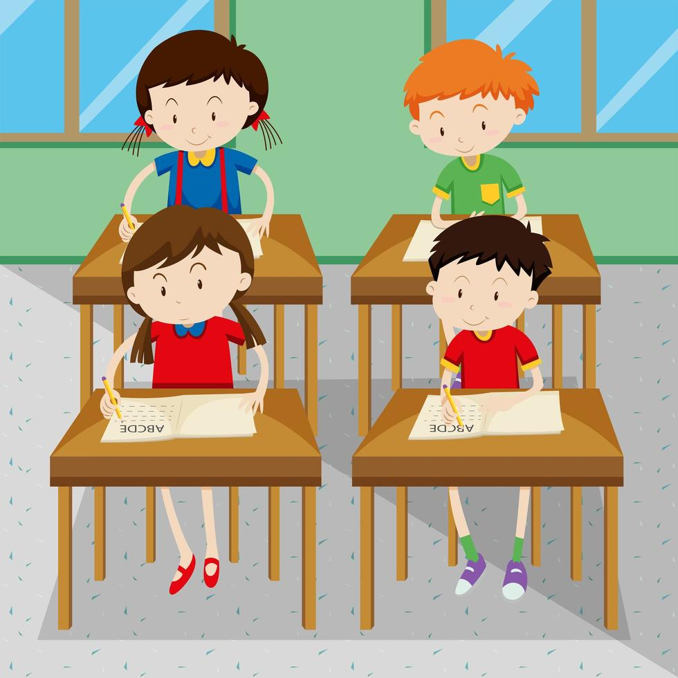 Students writing and learning at school vector