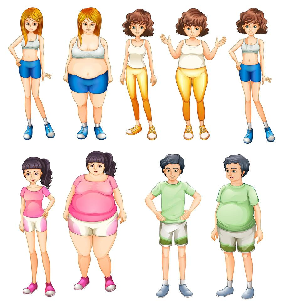 Overweight and skinny people vector