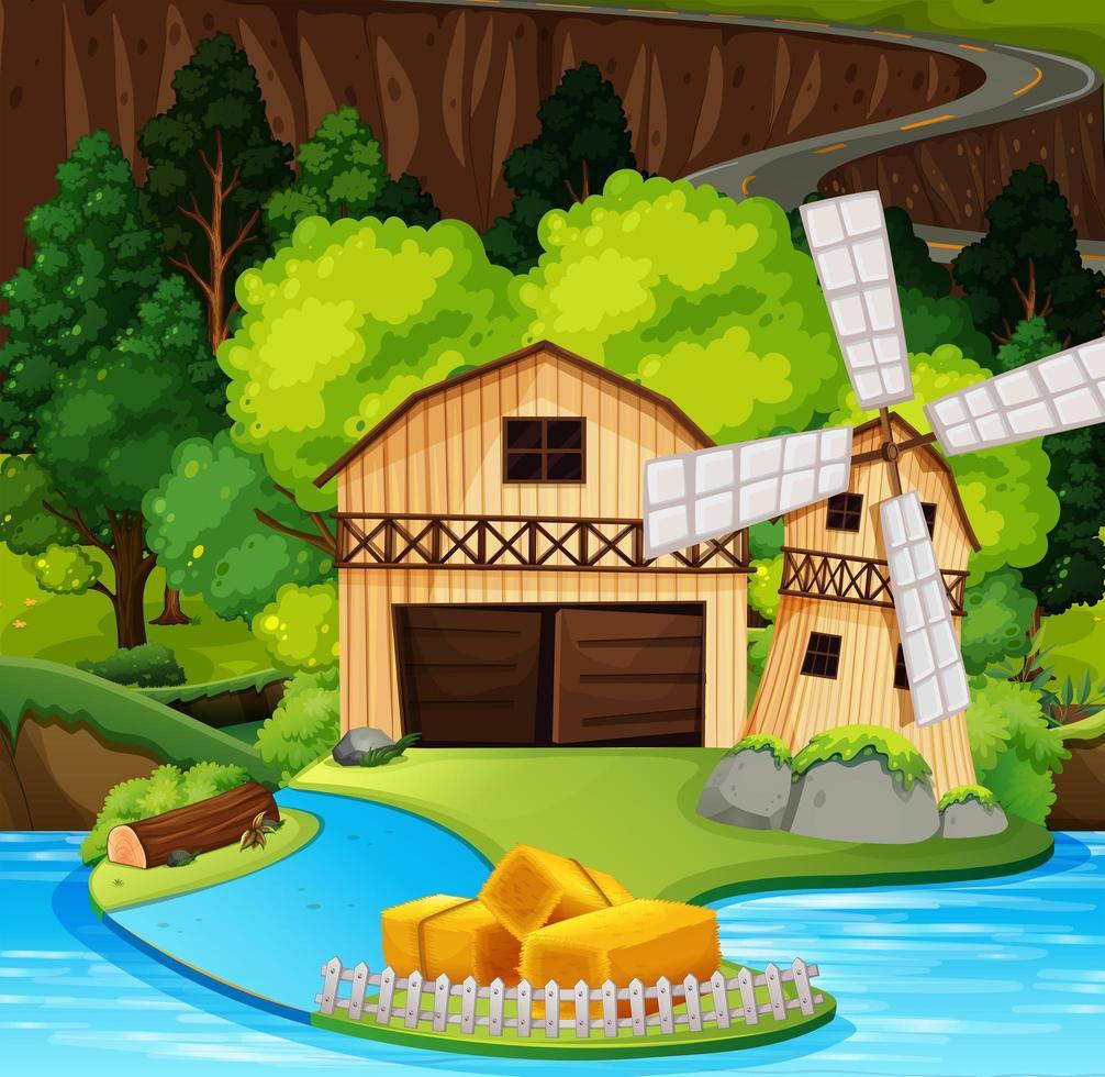 A rural house scene vector