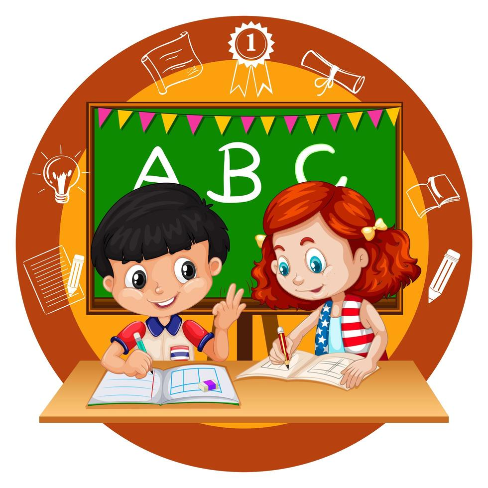 Two students doing homework - Download Free Vectors, Clipart ...