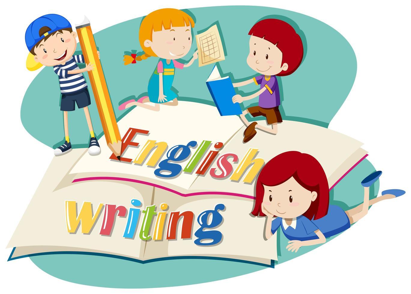 Kids working on english writing vector