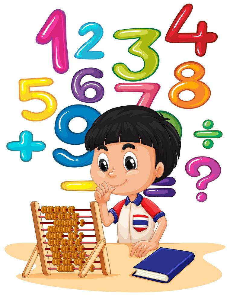 Boy doing math with abacus vector
