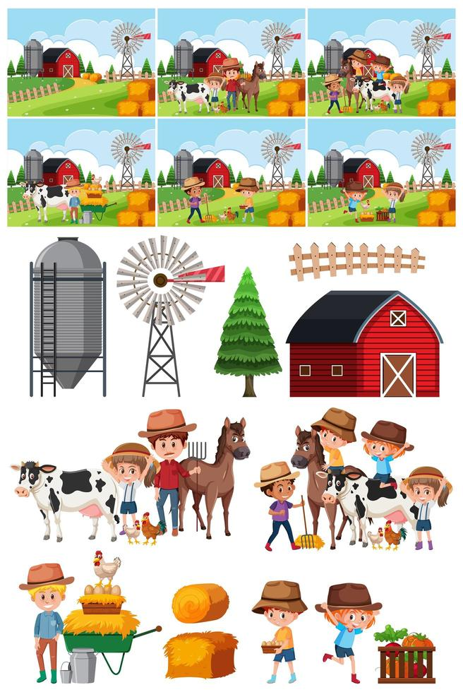 Set of farm object and background vector