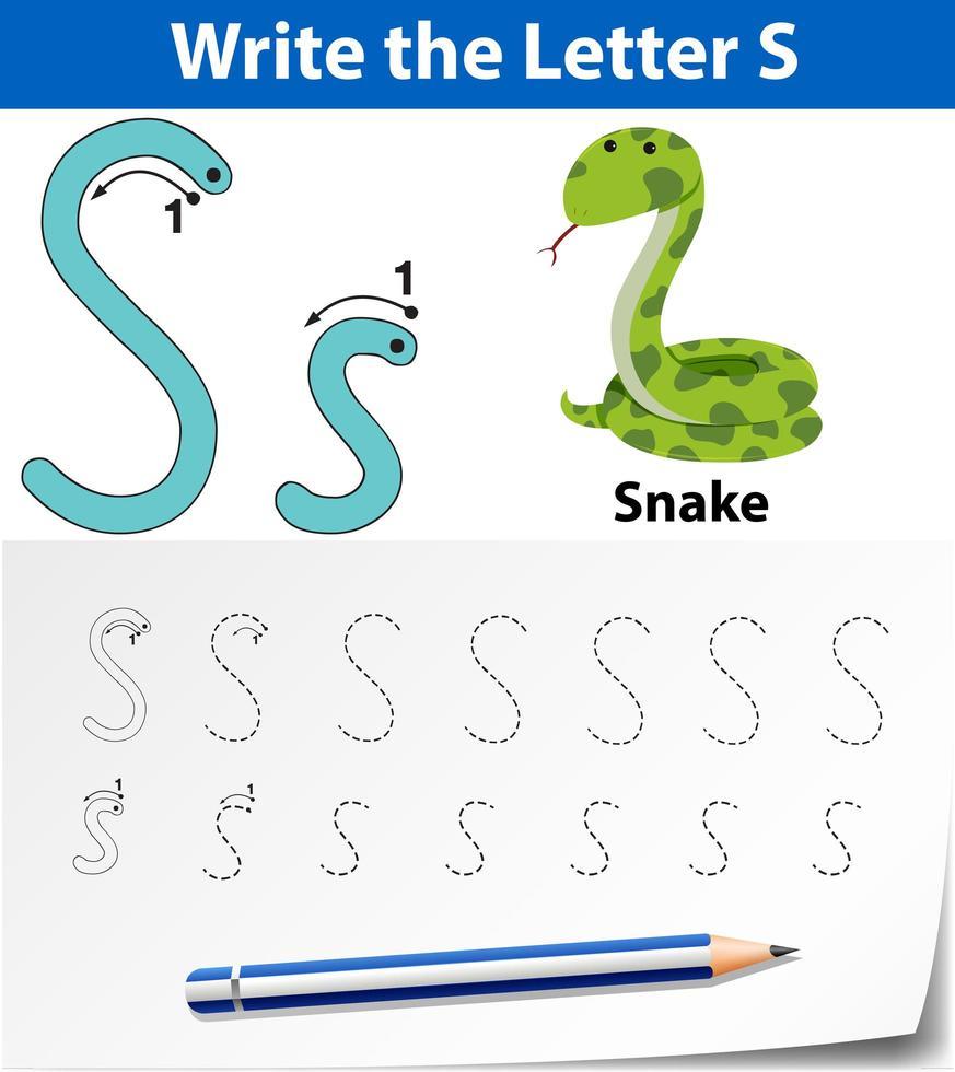 Arbeitsblätter für Buchstaben-S-Tracing-Alphabete vektor