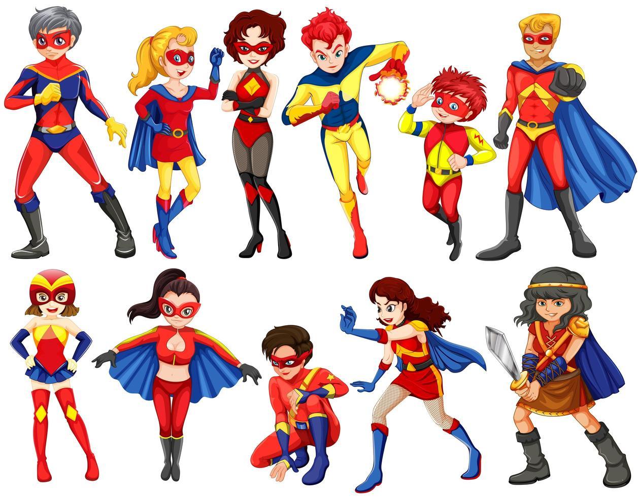 En grupp hjältar vektor