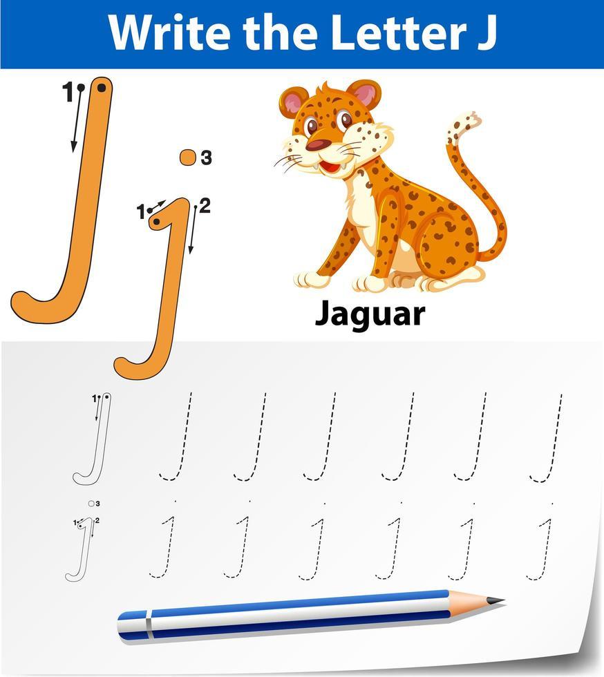 Arbeitsblätter für Buchstaben-J-Tracing-Alphabets vektor