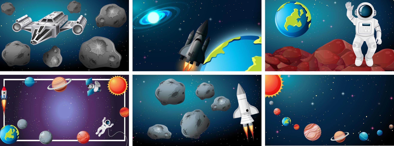 Set von Weltraumszenen vektor