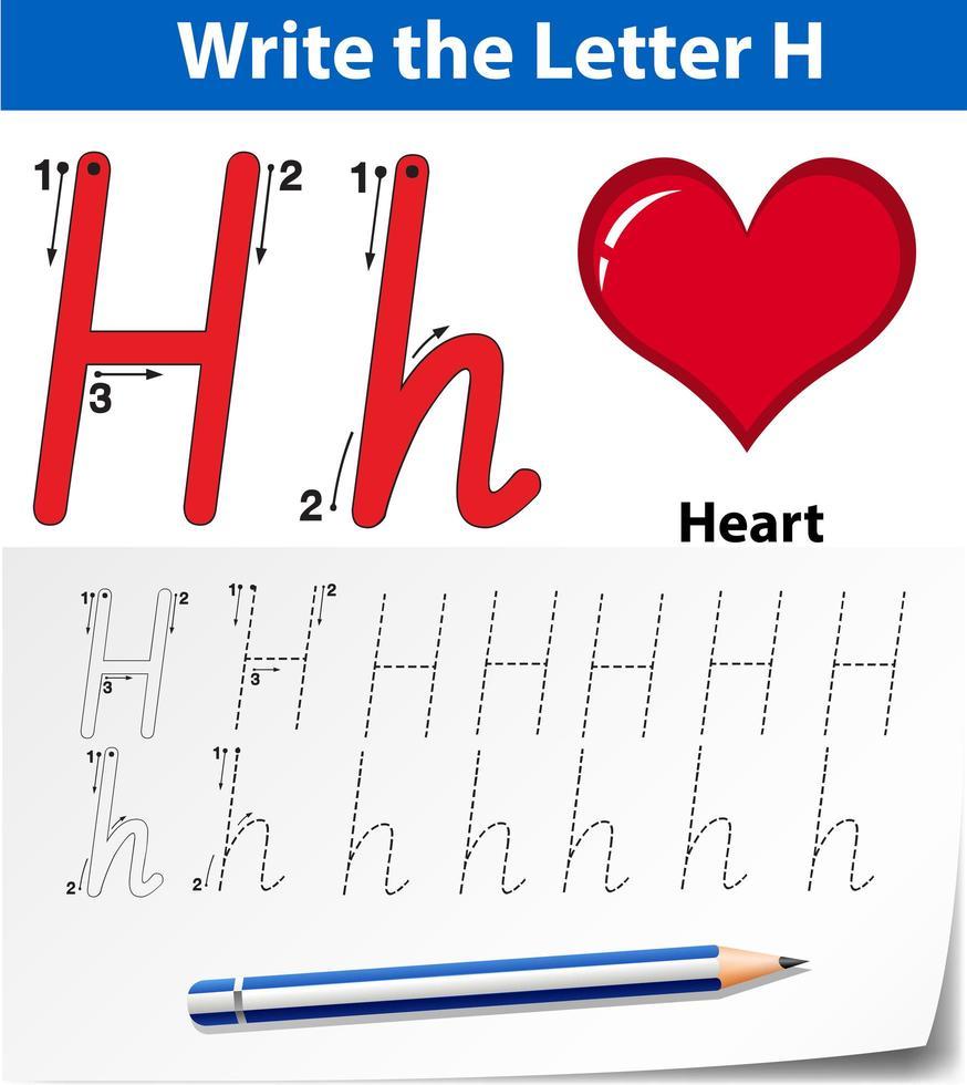Feuilles de calcul de l'alphabet de traçage de la lettre H vecteur