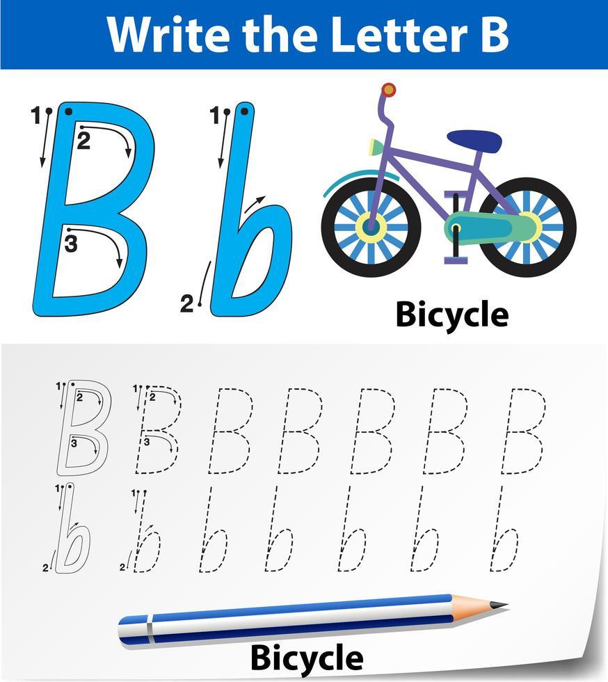 Arbeitsblätter für Buchstabe B zum Nachzeichnen des Alphabets vektor