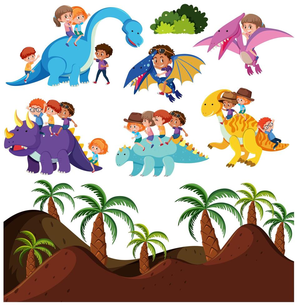 Kids riding dinosaur and prehistoric background vector