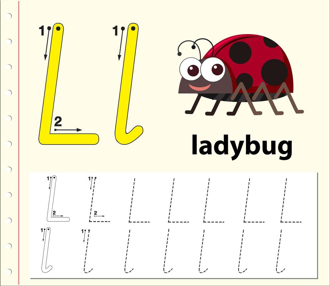Buchstabe L Alphabet Arbeitsblätter verfolgen vektor
