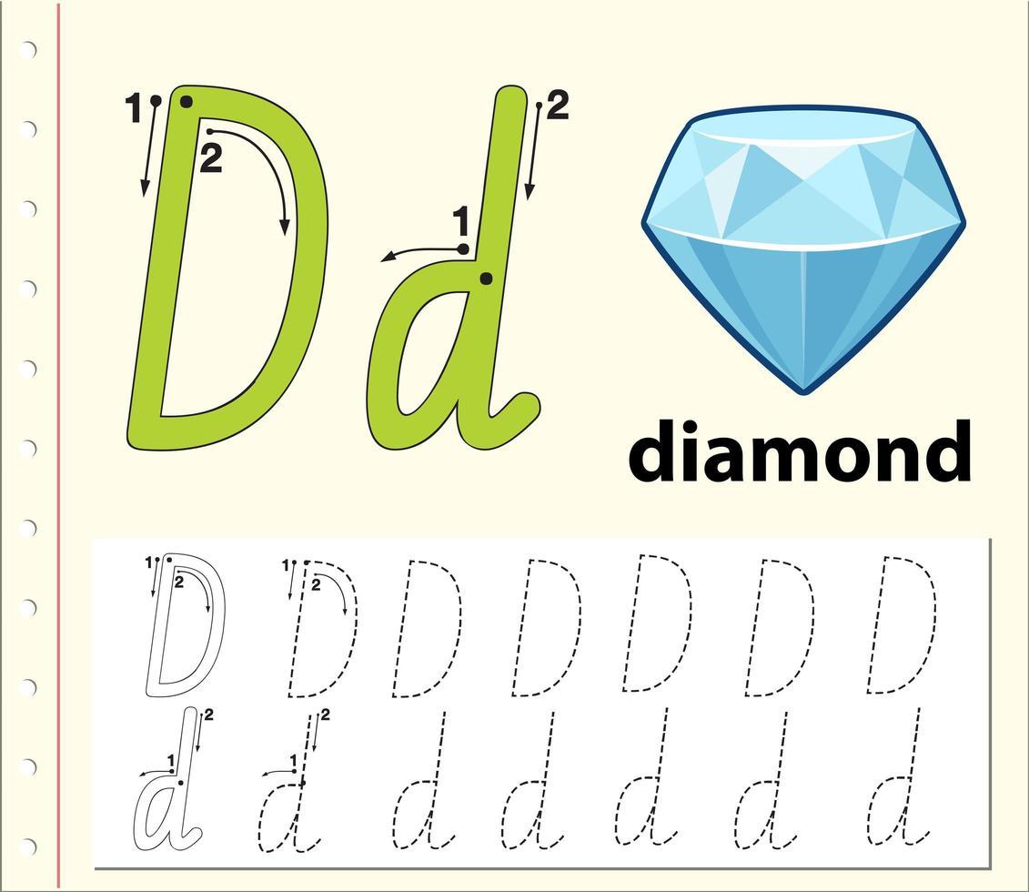 Arbeitsblätter für Buchstaben-D-Tracing-Alphabete vektor