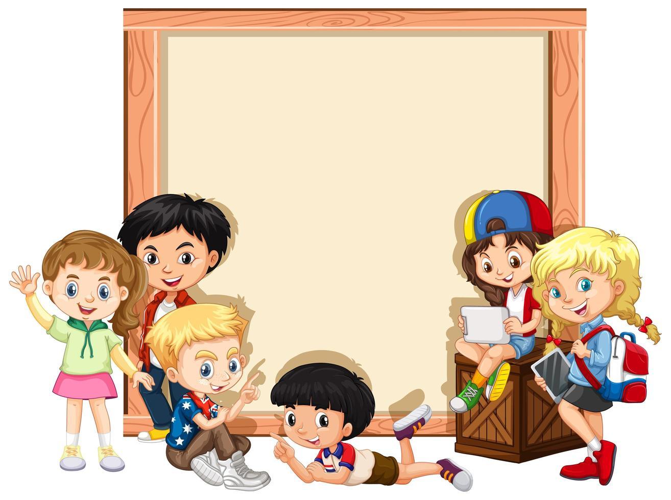 Modello di progettazione banner con bambini felici vettore