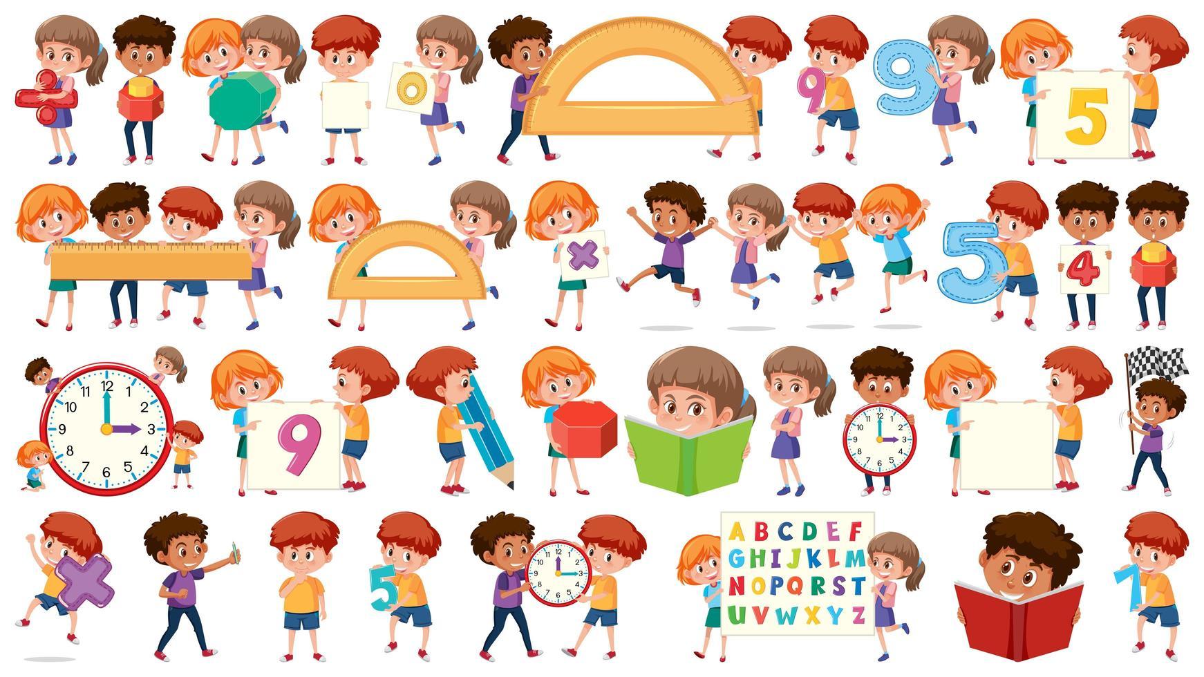 Set of math kids objects vector