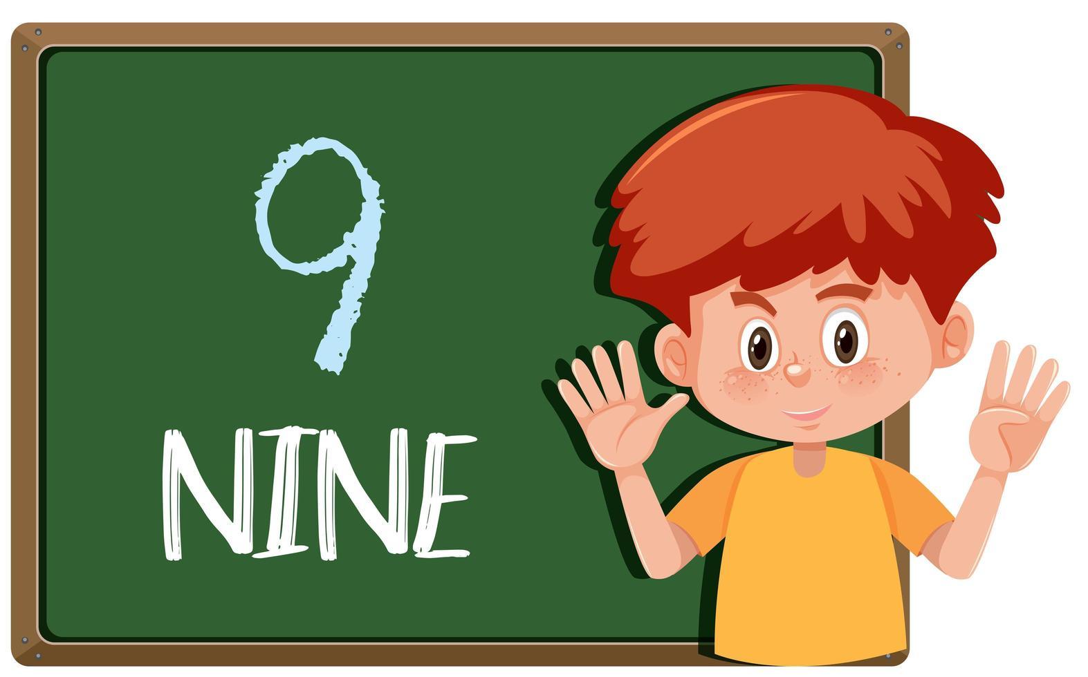 A boy with nine finger gesture
