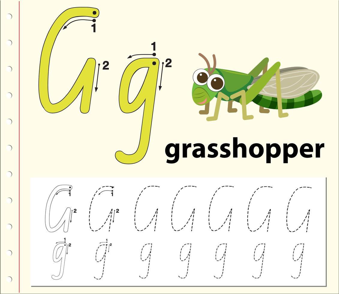 Arbeitsblätter für Buchstabe G zum Nachzeichnen von Alphabeten vektor