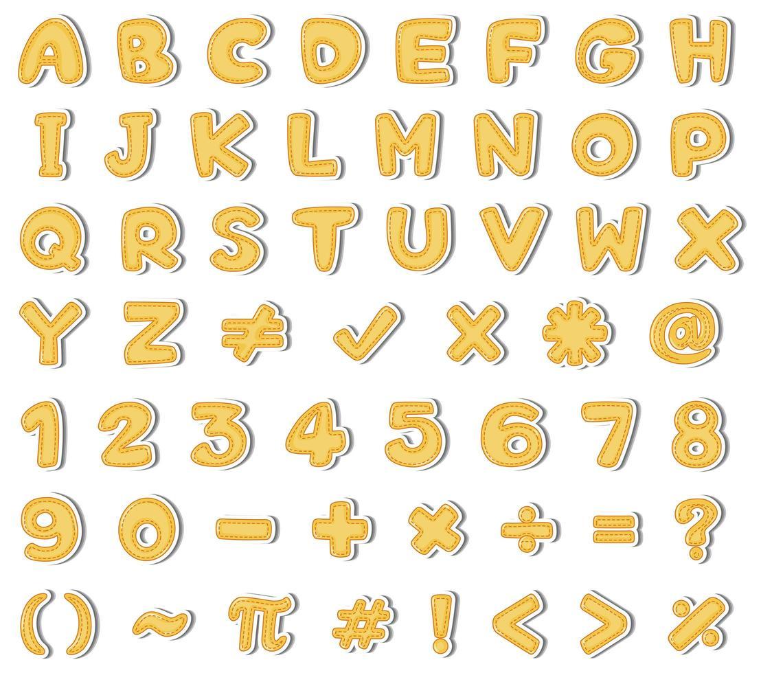 Gelbes englisches Alphabet und Zahl auf weißem Hintergrund vektor