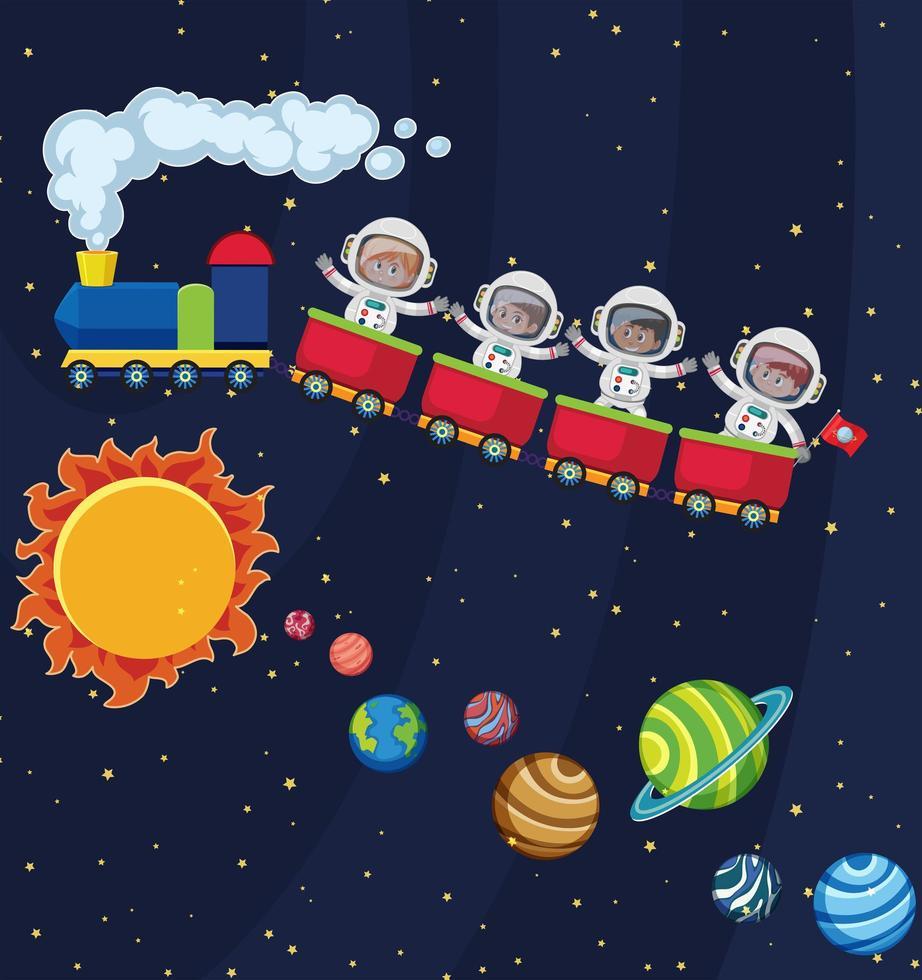 Astronauta viaja en el espacio en tren vector