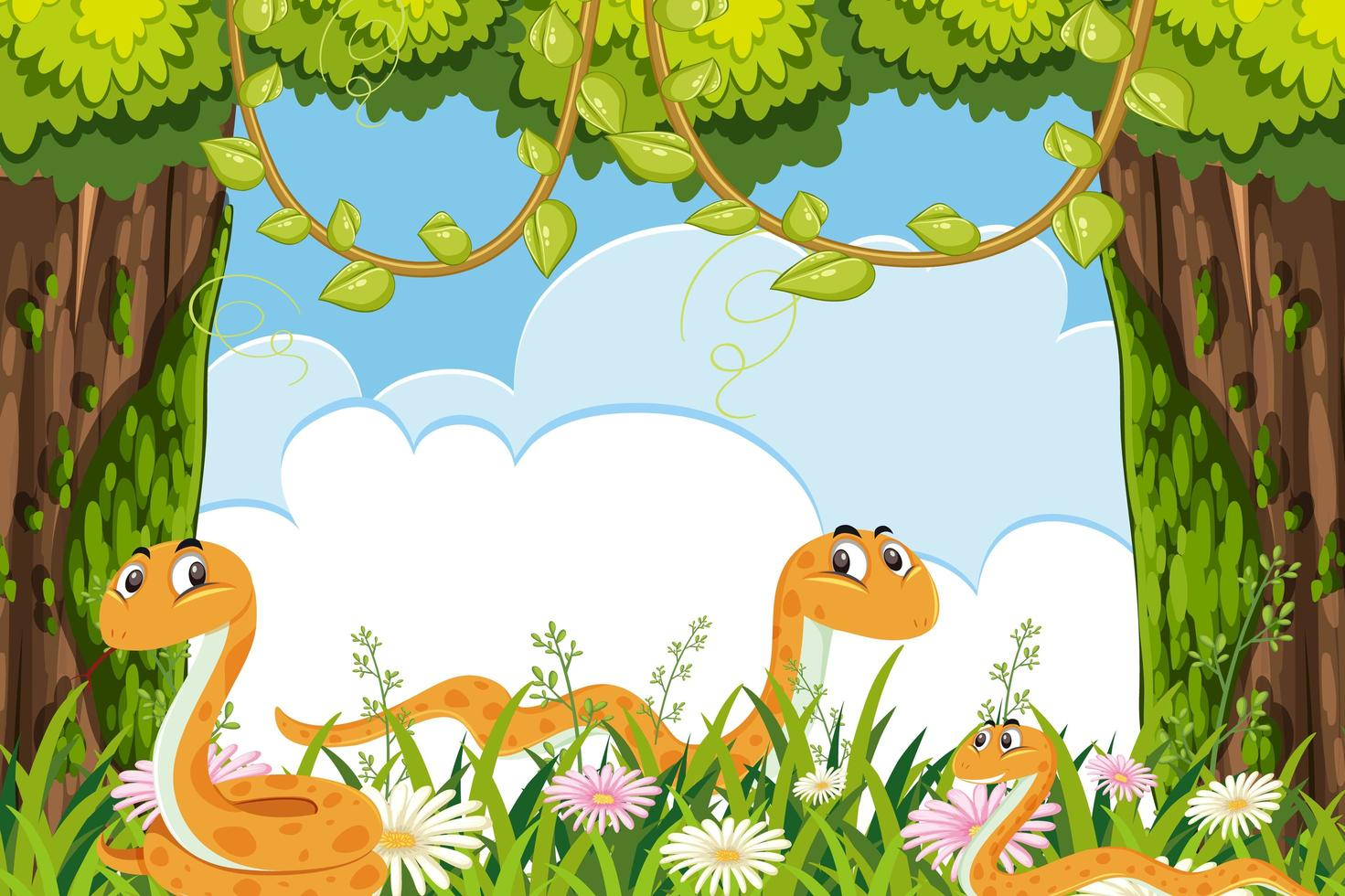 Yellow snakes in jungle scene vector