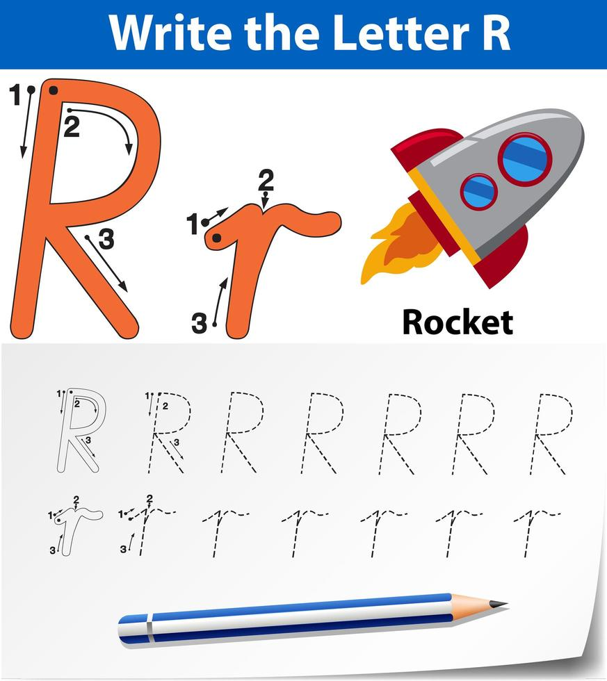 Write The Letter R English Card Download Free Vectors Clipart