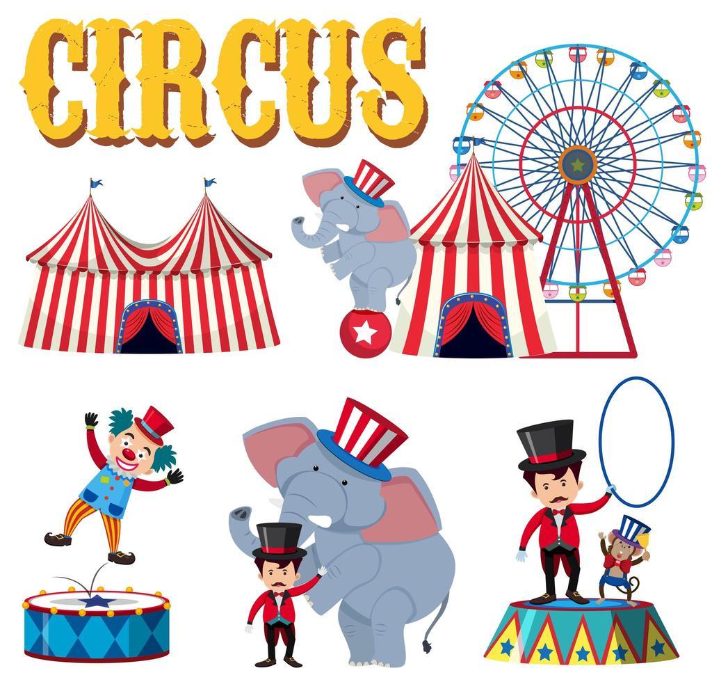 Um conjunto de elemento de circo vetor