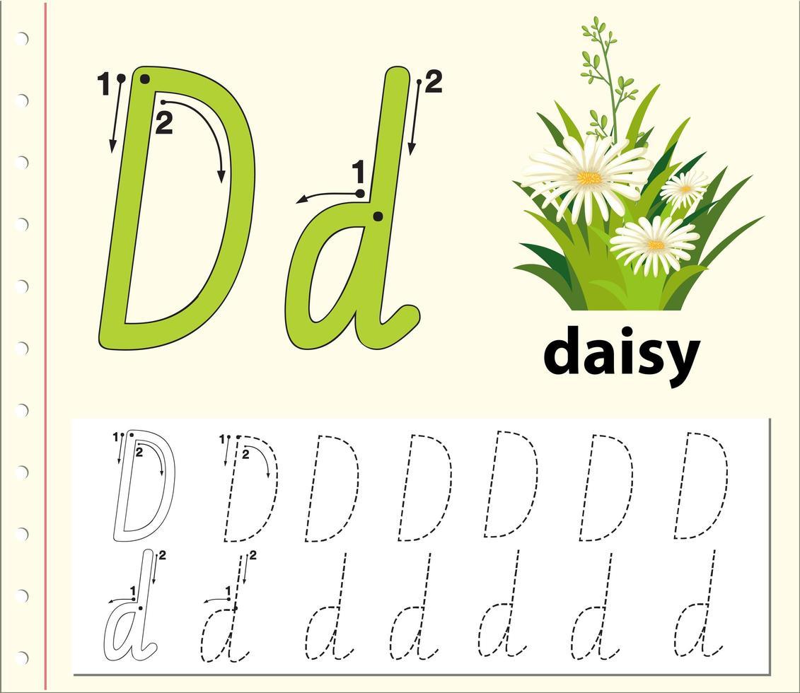 Feuilles de calcul alphabet traçage lettre D vecteur