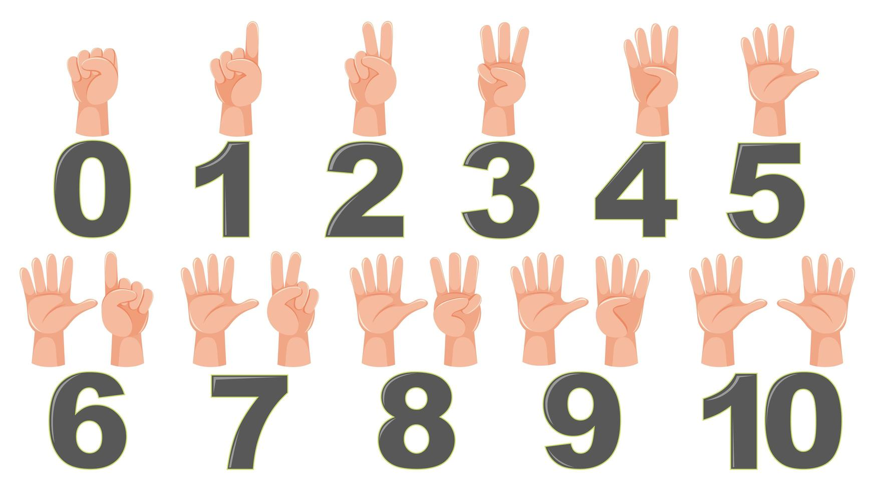 Math count finger gesture vector