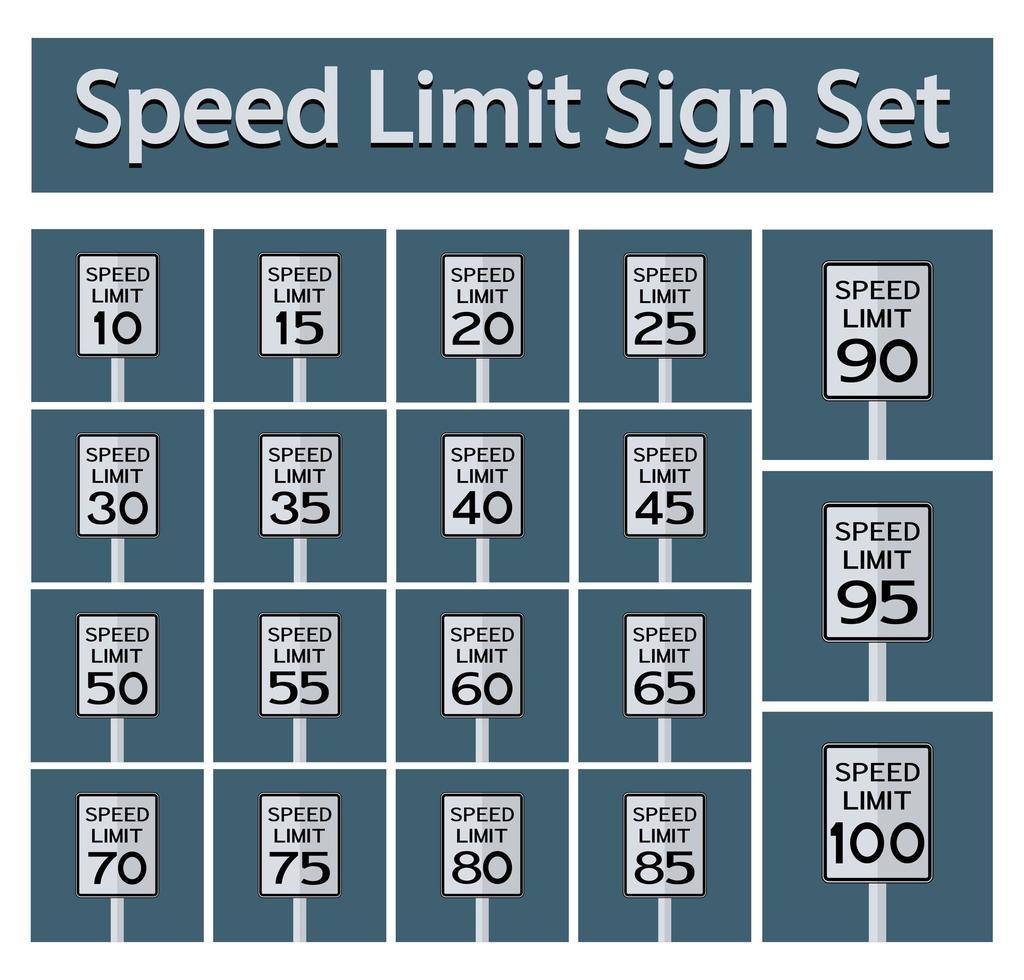 Speed Limit Sign Set vector