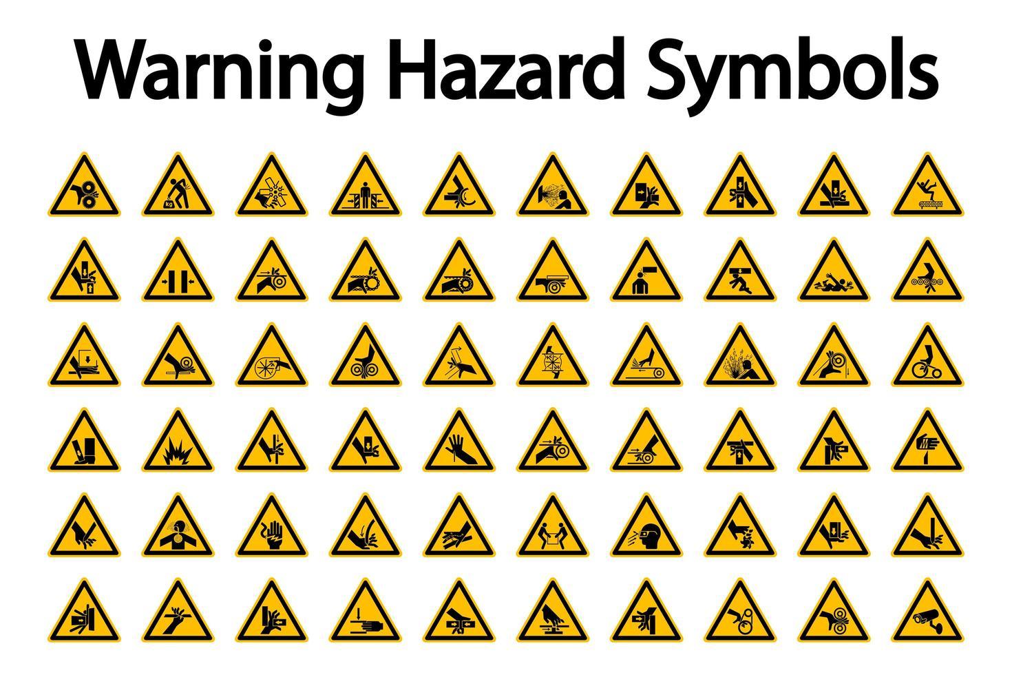 Triangular Warning Hazard Sign Set vector