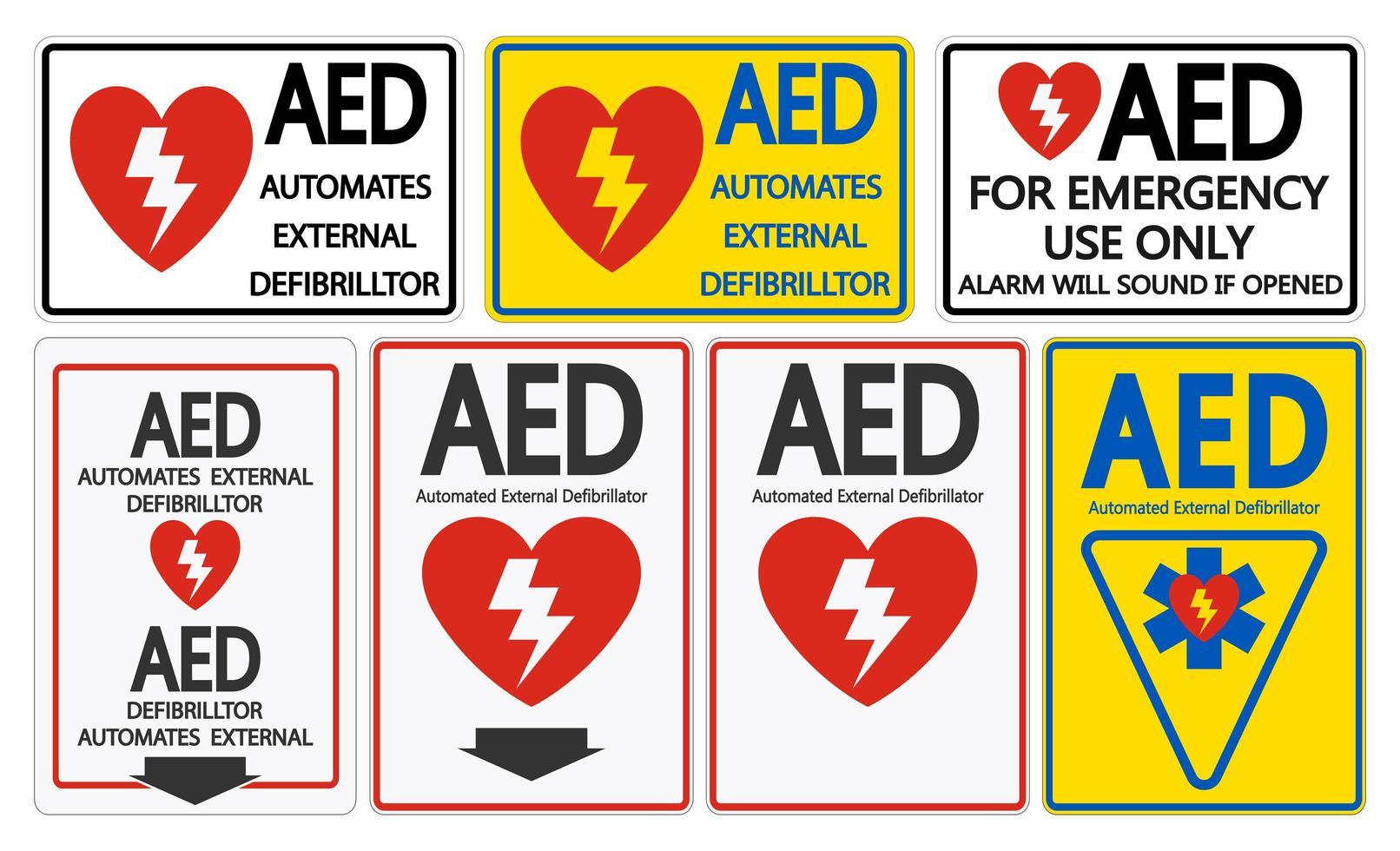 Définir le symbole AED Symbole signe isolé vecteur